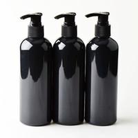 bouteille de distributeur de pompe à shampooing achat en gros de-20pcs 300ml noir cosmétique bouteilles en PET, vide shampooing lotion pompe récipient en plastique emballage cosmétique avec distributeur, gel douche