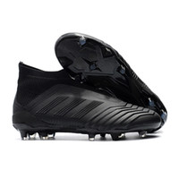 Wholesale outdoor ankle soccer shoes online - Adidas Predator FG Football Boots Cheap Men Soccer Shoes Laceless Cleats Socks High Ankle Outdoor Sneakers Size