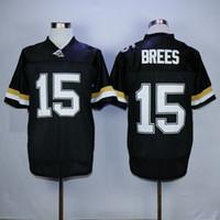 jerseys negros baratos del balompié al por mayor-Hombres Purdue Boilermakers Drew Brees College camisetas de fútbol retro barato # 15 Drew Brees Inicio BLack University camisetas de fútbol
