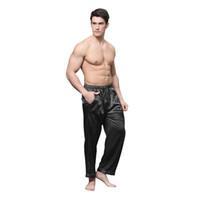 шелковые атласные штаны оптовых-TonyCandice Пижамные штаны Мужские атласные шелковые днища для сна Повседневные брюки Мужские пижамы Мужские длинные пижамы с мягким нижним бельем