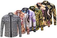 robe chemise homme coupe slim achat en gros de-2018 Printemps Automne concepteur de luxe Medusa Men social imprimé Chemise Slim Fit coton chemises pour hommes noir impression Business tops vêtements