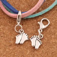 Wholesale Baby Jewelry Charms - Baby Feet Foot Lobster Claw Clasp Charm Beads 100pcs lot 25x8.4mm Tibetan silver Jewelry DIY C451