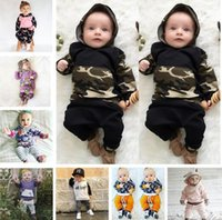 Wholesale camouflage girl clothing - Newborn Infant Baby INS Suits 39 Styles Hoodie Tops Pants Outfits Camouflage Clothing Set Girl Outfit Suits Jumpsuits kids clothing BY0196