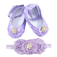 Wholesale purple flower baby shoes resale online - Baby Girl Shoes Toddler First Walkers Flower Princess Footwear Shoes Pearl Headband Purple Kids Newborn Purple for M