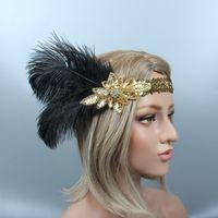ingrosso fasce di bellezza-1920s Great Gatsby Black Bridal piuma per capelli Beauty Girl Peacock Feather Wedding Queen Headband Prom Princess Birthday Party