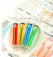 Wholesale syringe ballpoint pen resale online - 1000pcs Creative Ballpoint Pens syringe needle Ballpoint Pens needle ball pen trick of children s toys for students Ink Color black or blue