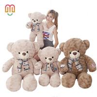 büyük oyuncak ayı kızları toptan satış-Vanmajor 1 ADET 75/95 CM Dev Büyük Boy Teddy Bear Kawaii Ayı Peluş Oyuncaklar Doldurulmuş Hayvan Juguetes Kız Oyuncaklar Çocuk Hediye