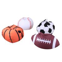 tierförmige kleidung großhandel-18 Zoll Kleidung Spielzeug Aufbewahrungstasche Leinwand Fußball Basketball Baseball Rugby Form Veranstalter Kuscheltier Plüsch Sitzsäcke Popualr 28cw CB
