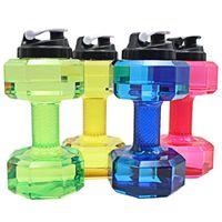 ingrosso grandi bottiglie di plastica-2.5L manubri a forma di plastica grande grande capacità palestra sport bottiglia d'acqua all'aperto fitness bicicletta bici campeggio garrafa