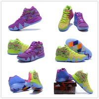 Wholesale Fluorescent Shoe Laces - 2018 What the Kyrie Irving 4 Multicolor Basketball Shoes for High quality Mens Kyrie4 4s Purple Fluorescent Green Sports Sneakers Size 40-46