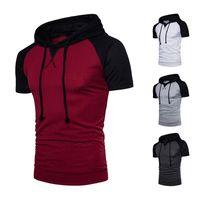 Wholesale Men Raglan Shirts - Raglan Top Summer New Sport Style Design Male Patchwork Hooded T Shirt Large Size Casual Wear