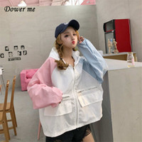 Wholesale down coat ladies pattern - Fashion Patchwork Women Thin Coats Female Loose Slim Turn-down Collar Coats Ladies BF Style Outwear Tops YL052