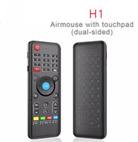 Wholesale H1 Full GHz Air Mouse with Backlight Touchpad Wireless Keyboard Axis Gyro Remote Control Backlit For Andriod Windows Mac OS Linux LLFA