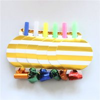 Wholesale plastic party whistles for sale - Group buy 6 pack Gold Stripe Noise Maker Blowout Plastic Whistle Kid s Birthday Wedding Party Fittings Party Supplies