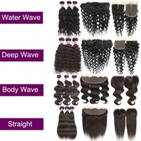 Wholesale texture wave - Brazilian Virgin Hair Straight Body Deep Water Wave Kinly Curly Human Hair Extensions Weft Bundles With Lace Closure Or Frontal Ear To Ear