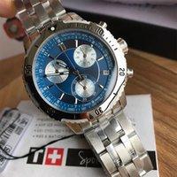 ремешок для часов белый оптовых-Роскошные часы серии T067 100% оригинал ETA швейцарский кварцевый механизм мужские часы 1853 синий белый циферблат PRS200 ремешок для часов хронограф наручные часы