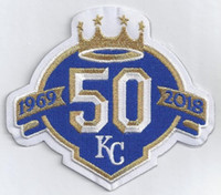 Wholesale royal irons - Iron on KANSAS ROYALS 50TH ANNIVERSARY PATCH Embroidered Jersey Patch.