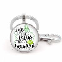 цепочка для ключей хорошая оптовых-2018 new fashion charm I want a cactus photo ring keychain silver metal key ring activity fashion gift to good friends