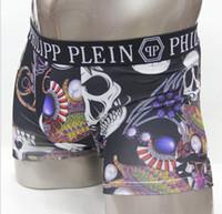 homens crânio cueca venda por atacado-Novo estilo de qualidade Vogue Homens Cueca Boxers Shorts de Luxo Marque Crânio Projeto Homme Ceinture Sexy Homme Underpant 6 pe ...