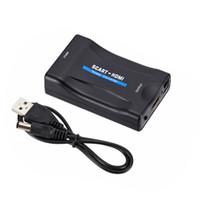 cajas de cable hd tv al por mayor-HD 1080P SCART to HDMI Converter Video Audio adaptador de señal de lujo con cable DC USB para HD TV DVD Box