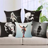 ingrosso copertine di hepburn di audrey-Marilyn Monroe Michael Jackson Elvis Presley Fodera per cuscino Audrey Hepburn Super Star Home Decorativo per divano