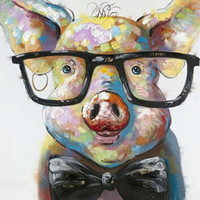 Wholesale Pig Decor - Framed Smart Pig,Pure Hand Painted contemporary WALL DECOR Abstract Animal Art Oil Painting On Canvas.Multi sizes Available wayfai C070