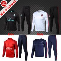 Wholesale Black Children Tracksuits - kids soccer tracksuit kit TOP thai quality 17-18 Ronaldo Boys Children Long Sleeve Ajax AC milan Football training Suits Youth Sport Wear