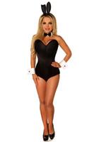 bunny adult toptan satış-Yetişkin Kadınlar Seksi Bunny Korse Teddy Kostüm Tavşan Kız Overbust Korse Bodysuit Dantel Geri Gece Kulübü Bar Garson Hizmetçi Kıyafeti