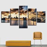Wholesale poster printing london - Canvas Painting 5 Pieces London Elizabeth Tower Pictures HD Prints Sunset Poster Modular Living Room Framed Wall Art Home Decor
