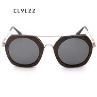 ingrosso ali di design-CLYLZZ Oval Chicken-Wing Wood Steampunk Occhiali da sole per uomo donna Retro Fashion Design