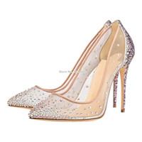belles chaussures de mariage pour les femmes achat en gros de-Femmes Nouvel An Bling Bling Cristal Chaussures De Mariage Belle Maille Décoré See-Through Chaussures De Banquet À Paillettes Escarpins Chaussures Brillantes