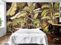 murais de parede japoneses venda por atacado-3d abstrato papéis de parede de banana japonesa retro europeu tropical papel de parede foto mural de parede sala de estar roomwall decoração murais