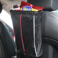 Wholesale vehicle fabric - Foldable Vehicle Hang Trash Bag Car Back Seat Pocket Waterproof Travel Car Garbage Bag Storage Bags CCA9165 50pcs
