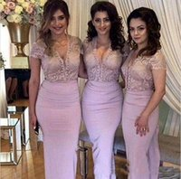 Wholesale empire neck elastic wedding dresses online - Blush Bridesmaid Dresses Lace V Neck Short Sleeves Prom Party Gowns Long Sheath Chiffon Wedding Guest Dresses Evening Wear