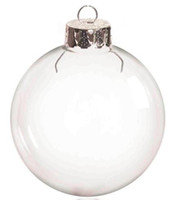 Wholesale silver christmas ball ornament - Promotion - DIY Paintable Transparent Christmas Ornament Decoration 66mm Glass Ball With Silver Top, 5 Pack