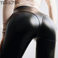 fermuarlı belli tozluklar toptan satış-BN Yüksek Bel Gotik Siyah PU Deri Tayt Kadınlar Için ön Fermuar Egzersiz Legging Punk Leggins Jeggings Pantolon Tayt