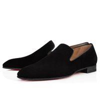vestido zapatos negocio oxford al por mayor-Vestido de boda de la fiesta del caballero Diente de león Oxfords plana para hombre de negocios de deslizamiento en la parte inferior roja hombre holgazán zapatos de diseñador de lujo tamaño 35-46