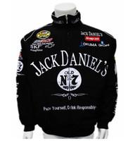 ingrosso vestito nero da corsa del motociclo-NUOVO 2018 tuta di bellezza di riparazione di motore di F1 invernale Tuta da motociclista Spot black jack Daniels ricamo giacca cappotto conducente deriva