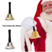 pirinç çanlar toptan satış-Pirinç Altın Kaplama Noel Noel Noel El Bells Dekorasyon Kutlamak Parti Noel Bells