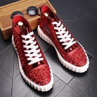 männer schuhe marken großhandel-Fashion Brand Design Herrenschuhe Red Spikes High Top Sneakers Männliche Schuhe Schnüren Outdoor Schuh Für Männer 13 # 40D50
