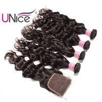 Wholesale unice hair for sale - UNice Hair Virgin Brazilian Natural Wave Bundles With Lace Closure Free Part Human Hair Extensions Remy Hair Weave With Closures Unprocessed