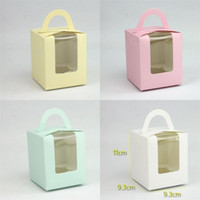Wholesale cupping points - Candy Box Pastries West Point Packing Solid Color Window Cup Cake Party Supplies Fold Gift Wrap 0 55rxa V