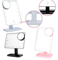 Wholesale portable magnifiers - Makeup Mirror 20 LED Light Touch Screen Light Make Up Cosmetic Tool Magnifier Makeup Mirror Portable Tabletop Countertop Magnifying KKA4094