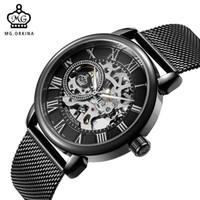 relojes de pulsera al por mayor-Al por mayor-ORKINA Hombre reloj de pulsera Esqueleto Dial Mecánico mano-viento Reloj Hombres Relojes de pulsera de malla de acero inoxidable Relogio Masculino