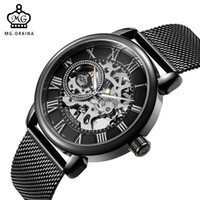 Wholesale male hand bands for sale - Group buy ORKINA Male Wristwatch Skeleton Dial Mechanical hand wind Clock Men s Wrist Watches Stainless Steel Mesh Band Relogio Masculino