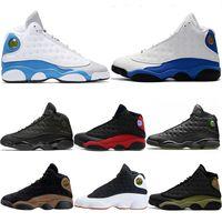Wholesale dark wolf - New 2018 Mens Designer 13 13s Basketball Shoes OG Black Cat Mtlc Gold Hyper Royal Italy Blue Olive Wolf Grey Sports Trainer Sneakers