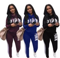 Wholesale Women S Velour Sportswear - S-3XL Woman Sportswear Letter PINK Print Sweatshirt + Pants Two-piece Set Women Jogging Sport Suit for Ladies Leisure Tracksuit Sweatsuit