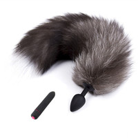 Wholesale sex fun game resale online - 10 Speed Anal Vibrator Fox Tail Anus Butt Plug Silicone Bead Massager Fetish Sex Products Adult Games Fun Couples Toys For Women