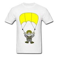 diversión del botón al por mayor-Skydiver Fun Hippo Skydiving T-shirt Camisetas de encargo de la impresión de la historieta para el diseño divertido del estudiante Camisetas gráficas lindas ningún botón