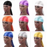 moda de la venda de los hombres al por mayor-Nuevos hombres de moda Satén Durags Bandana Turban pelucas hombres sedoso Durag Headwear Headband pirata sombrero accesorios para el cabello